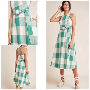 NWT Anthro Maeve Greta Gingham Belted Dress 0P